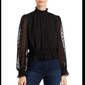 Lucy Paris Flocked Polka Dot Top